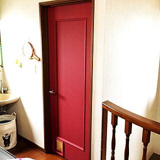 玄関/入り口/猫ドア/ドアをペイント/ペンキ塗り♪/壁紙屋本舗さんのペンキ...などのインテリア実例 - 2017-02-20 11:33:11