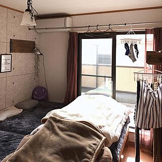ベッド周り/寝室/部屋干し/DIY/インスタ→TOMOOO.25...などのインテリア実例 - 2019-01-23 07:56:57