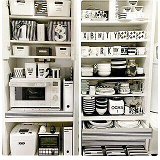 キッチン/白黒 収納/IKEA/モノトーン/食器...などのインテリア実例 - 2015-03-09 14:45:49