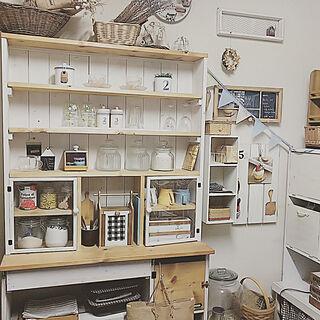 女性一人暮らし1LDK、キッチン収納 DIYに関するmino64coさんの実例写真