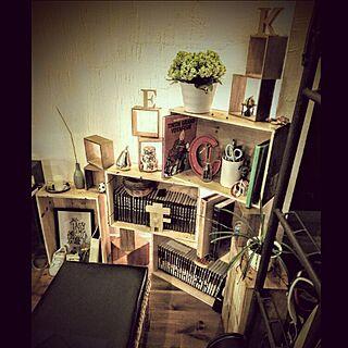棚/植物/green/ワインの木箱/アイアンの飾り梯子...などのインテリア実例 - 2016-03-08 19:29:26