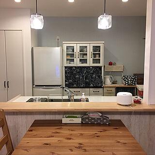 キッチン/無印良品/アロマディフューザー/ブルーグレーの壁/北欧ナチュラル...などのインテリア実例 - 2017-12-06 21:23:17
