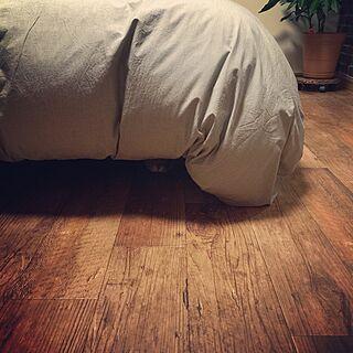 ベッド周り/古材風クッションフロア/クッションフロア/床材のインテリア実例 - 2015-10-18 20:13:21