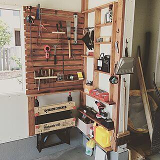 壁/天井/DIY/ガレージ/2×4材棚/ガレージライフのインテリア実例 - 2016-09-11 13:55:50