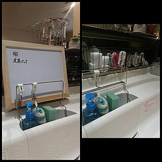 女性52歳の家族暮らし、LIXILキッチン キッチンの差し色はブルーに関するkyukyuさんの実例写真