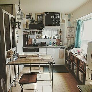 キッチン/セルフリノベーション/板壁/カフェ風/DIY...などのインテリア実例 - 2016-02-07 12:04:21
