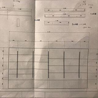 棚/設計図(笑)/DIY/DIY棚/壁面収納...などのインテリア実例 - 2018-06-08 20:33:52