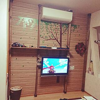 女性家族暮らし2LDK、テレビ台DIYに関するisa_kiさんの実例写真