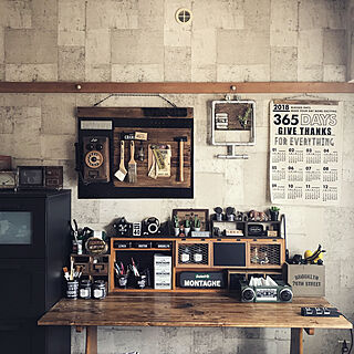 壁/天井/ラジカセ風ティッシュケース/作業デスクDIY/作業部屋/コンクリート柄壁紙...などのインテリア実例 - 2018-04-09 11:28:11