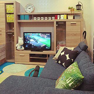 女性家族暮らし3LDK、ムーミンクッションに関するtaitaiさんの実例写真