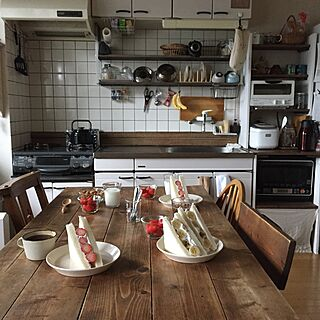 キッチン/朝のキッチン/朝ごはん/いちごサンド/フルーツサンド...などのインテリア実例 - 2017-05-06 09:05:17