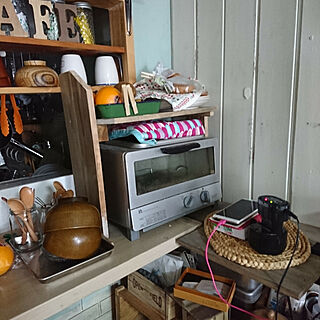 キッチン/WOODPRO足場板/板壁DIY/代わり映えしませんが…/3歩で何でも手の届くキッチン...などのインテリア実例 - 2019-06-22 11:42:30