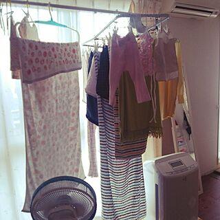 リビング/部屋干し/梅雨/お見苦しい写真ごめんなさい。/TOSHIBA扇風機...などのインテリア実例 - 2015-06-09 13:32:50