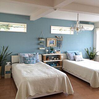 部屋全体/マリンスタイル/ウォールデコレーション/WOODPRO/ROOMBLOOM/ベッドルームの壁ペンキ塗り...などのインテリア実例 - 2016-07-25 14:10:52