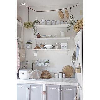 キッチン/手作りキッチン/食器収納/ホワイトインテリア/漆喰壁...などのインテリア実例 - 2017-09-21 18:24:59