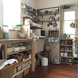 キッチン/腰壁/無印良品/ディスプレイ収納/かご収納...などのインテリア実例 - 2018-10-24 08:11:34
