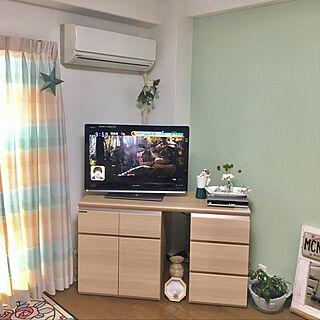 玄関/入り口/大理石の花瓶/パモウナのテレビ台/ベルメゾンのラグ/ウニコのカーテンのインテリア実例 - 2018-04-26 22:14:47