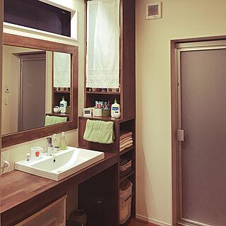 バス/トイレ/自分でデザイン/大きな鏡/造り付け洗面台/造り付け棚...などのインテリア実例 - 2018-01-20 23:41:38