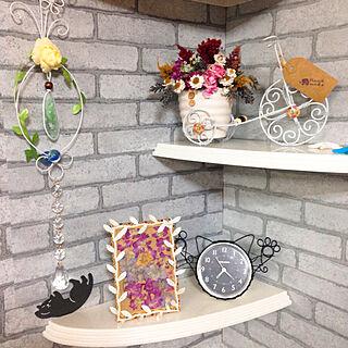 棚/30/4/5(木)/posauruちゃん有難う♥/posauruちゃんの作品/posauruちゃんの猫ワイヤー時計...などのインテリア実例 - 2018-04-05 21:09:27