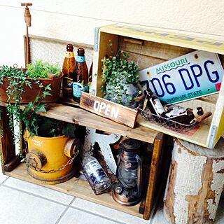 玄関/入り口/植物/ペプシの木箱/海で拾った丸太/木箱...などのインテリア実例 - 2014-02-06 07:31:04