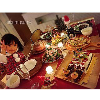 女性30歳の家族暮らし3LDK、クリスマスパーティー(⌒▽⌒)に関するnekomusumeさんの実例写真