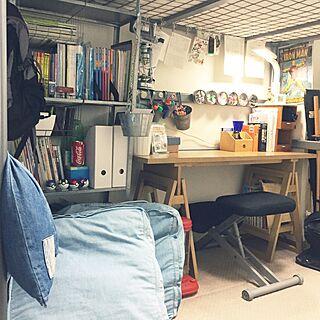 机/ニトリ椅子/IKEAの棚/IKEAロフトベッド/IKEAマグネットケース...などのインテリア実例 - 2017-06-22 00:53:26