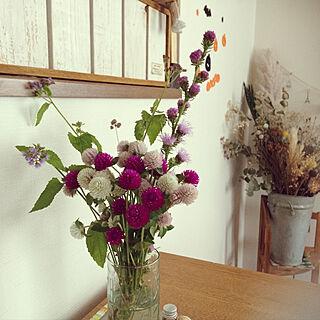 机/ダイニングテーブルの上/食卓に花を♡/花のある暮らし/センニチコウ...などのインテリア実例 - 2017-09-07 13:58:20