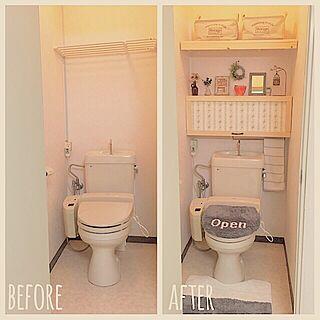女性家族暮らし2LDK、トイレ 扉に関するhonohono-natsuさんの実例写真
