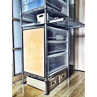 棚/ニトリ/IKEA/メタルラック×無印良品/スチールラックが好き♡...などのインテリア実例 - 2017-03-07 12:22:58