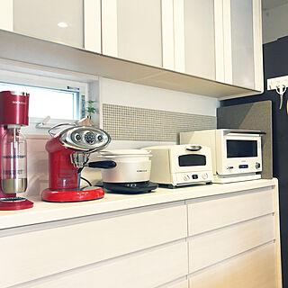 クリナップ/ガラスタイル/フェイクグリーン/赤いキッチン小物/白×赤...などのインテリア実例 - 2018-04-28 13:40:05