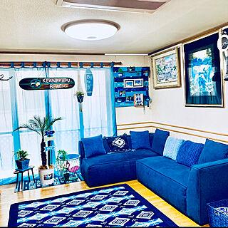 お、ねだん以上ニトリ/ニトリが好き♡/ブルーが好き♡/ハワイアンが好き♡/フェイクグリーン...などのインテリア実例 - 2019-04-12 22:11:28