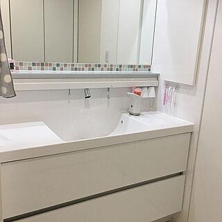 女性家族暮らし4LDK、洗面に関するaoiasamiさんの実例写真