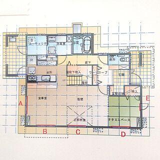 女性45歳の家族暮らし3LDK、間取り図に関するkome-piさんの実例写真