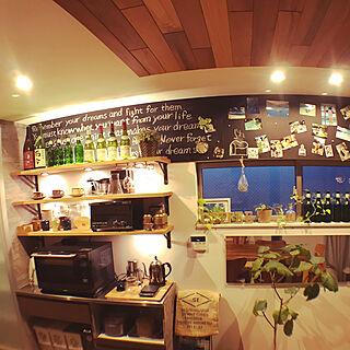 キッチン/オーク材/壁紙DIY/棚板DIY/コーヒーコーナー...などのインテリア実例 - 2018-06-11 04:52:15