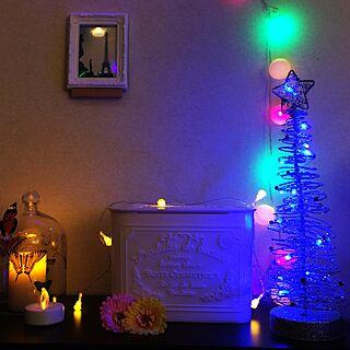 ベッド周り/LED/キャンドル/クリスマスツリー/蝶 /ガラスドームのインテリア実例 - 2014-12-21 22:53:00
