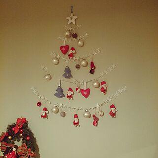 壁/天井/玄関入ってすぐ/クリスマス/ちょっとだけクリスマス/アクセントクロス...などのインテリア実例 - 2016-11-17 18:06:33