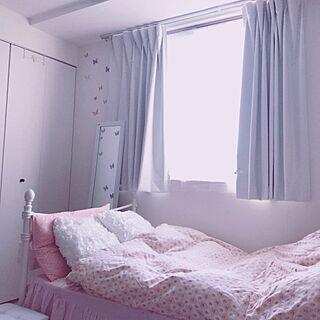 ベッド周り/クッション/ベッドスカート/花柄/ベッドカバー...などのインテリア実例 - 2017-07-03 18:29:51