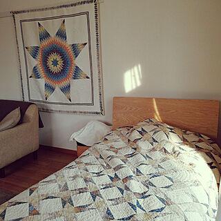 一人暮らし1K、無印良品ベッドに関するmoguandpahipoさんの実例写真