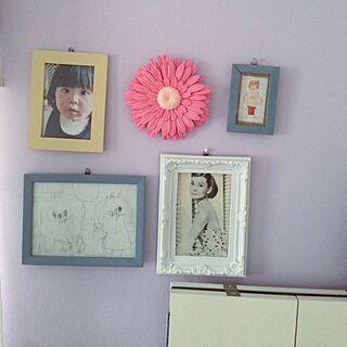 女性34歳の家族暮らし3LDK、フレームの絵は子ども作に関するNkRさんの実例写真