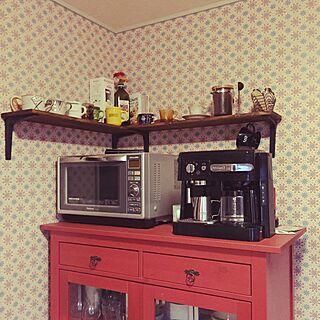 キッチン/コーヒー/インテリア雑貨/アクセントウォール/デロンギコーヒーメーカー...などのインテリア実例 - 2016-02-03 20:07:16