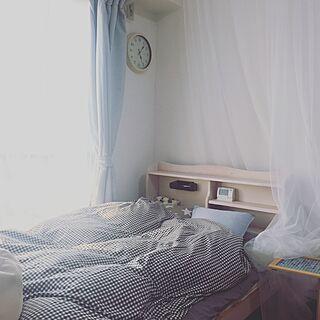 女性の、1R、一人暮らしの「ベッド周り」についてのインテリア実例