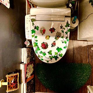 チャコールグレーの壁/デコセルフ/ウォールステッカー/トイレ/モリモリ病...などのインテリア実例 - 2019-07-05 07:32:15
