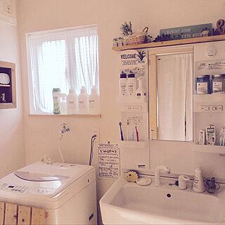 女性家族暮らし4LDK、洗面所改造中に関するfeuileさんの実例写真