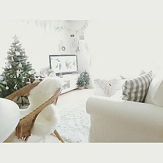 部屋全体/クリスマス/白のチカラ/クリスマスツリー/ホワイトナチュラル...などのインテリア実例 - 2017-12-08 17:09:24