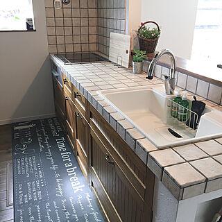 ニトリのキッチンマット/IKEAのまな板/キッチンシンク/アンティークタイル/タイルキッチン...などのインテリア実例 - 2020-04-19 08:26:50