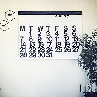 部屋全体/カレンダー/白黒/ホワイト/海外インテリア...などのインテリア実例 - 2018-05-24 15:00:15
