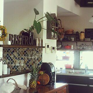 キッチン/カフェ風/コーヒーメーカー/ミモザのリース/雑貨...などのインテリア実例 - 2016-03-22 16:50:38