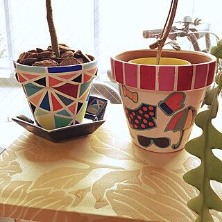 女性家族暮らし3LDK、リメイク鉢に関するnaonさんの実例写真