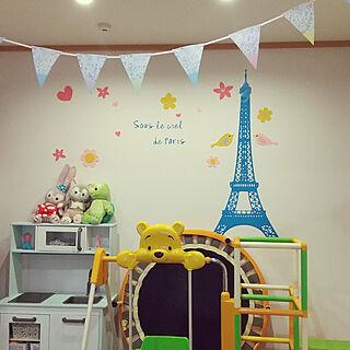 リビング/ウォールデコレーション/ウォールステッカー/パリの子ども部屋/こどもと暮らす...などのインテリア実例 - 2021-01-26 20:59:36