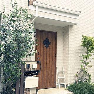 玄関/入り口/ワイヤープランツ/ラダーDIY/車輪/オリーブの木...などのインテリア実例 - 2018-05-16 19:51:46